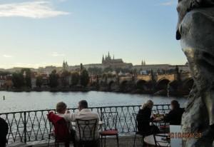プラハ城を望んでディナー